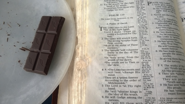 Psalm 110 Bible With Green and Blacks Organic 85 Percent Dark Cacao Chocolate
