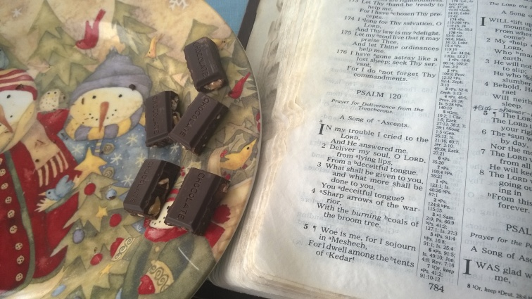 Psalm 120 Bible with Lily's 55 Percent Cocoa Almond Dark Chocolate on snowman plate