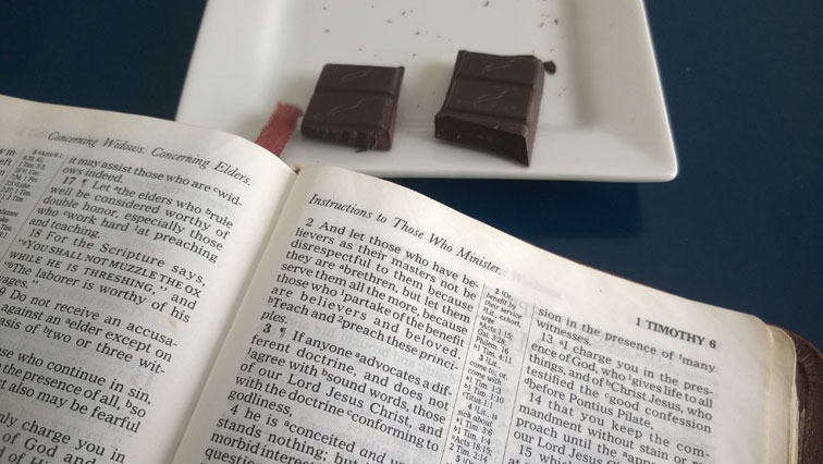 1 Timothy 6 Bible with Green and Blacks Organic 60 Percent Cacao Mint Dark Chocolate