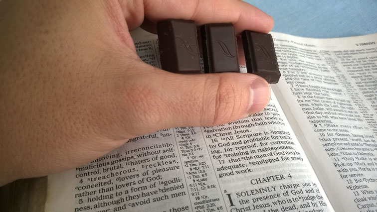 2 Timothy 3 Bible with Green and Blacks Organic 60 Percent Cacao Mint Dark Chocolate