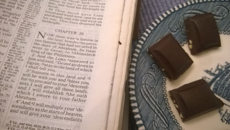 Genesis 26 Bible with Endangered Species 72 percent Cocoa Dark Chocolate with Sea Salt & Almonds