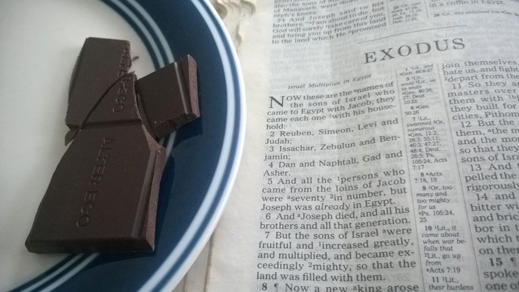 Exodus 1 Bible with Alter Eco Deep Dark Blackout Organic Chocolate